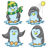 Penguin in Several Poses — Stock Vector