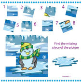 Find missing piece game for Children with penguin on ice background — Stock Vector