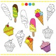 Illustration of colorful or black and white ice cream for coloring book — Stock Vector #77321872
