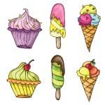 Set of colorful tasty cartoon ice cream — Stock Vector #77322340