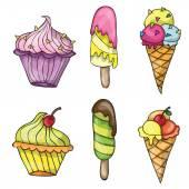 Set of colorful tasty cartoon ice cream — Stock Vector