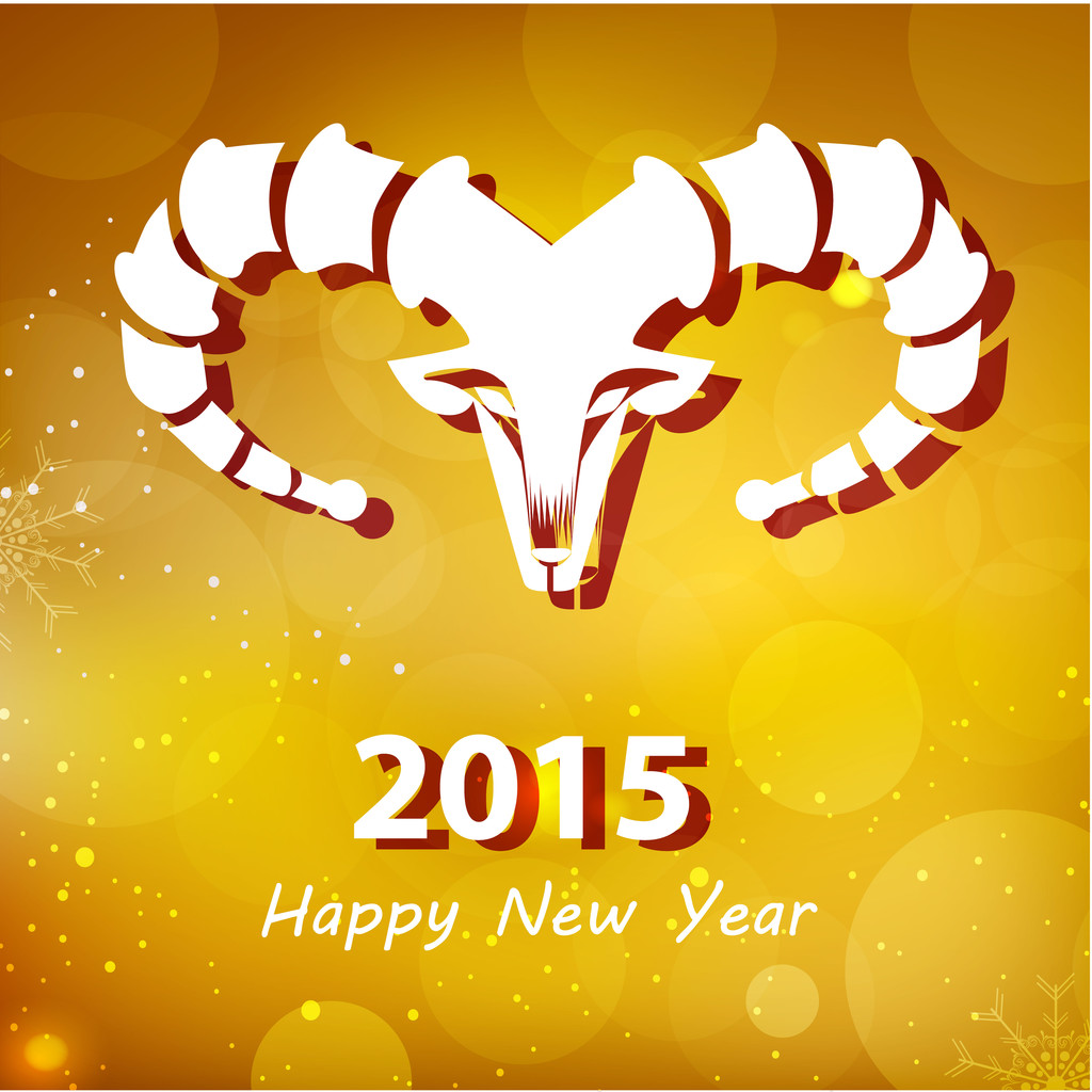 Happy New Year 2015, year of the goat — Stock Vector