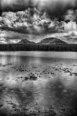 The Peaks Above the Water HDR BW — Stock Photo