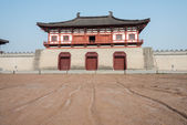LUOYANG, CHINA - NOV 18 2014: Street Remains Outside Dingding Gate from the Sui and Tang Dynasty. UNESCO World heritage site in Luoyang, Henan, China. — Stock Photo