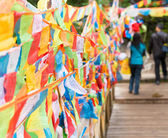 SICHUAN, CHINA - JUL 23 2014: Prayer flag at Yading Nature Reserve. a famous landscape in Daocheng, Sichuan, China. — Stock Photo