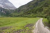 SICHUAN, CHINA - JUL 24 2014: Special Horse Caravan at Yading Nature Reserve. a famous landscape in Daocheng, Sichuan, China. — Stock Photo