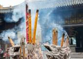 SICHUAN, CHINA - SEP 13 2014: Incense stick at Lingshan Temple. a famous Temple in Mianning, Xichang, Sichuan, China. — Stock Photo