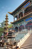 XINING, CHINA - Jul 5 2014: North Mountain Temple(Tulou Guan). National 3A turist attraction, important cultural relic sites under Qinghai protection in the Ancient city of Xining, Qinghai, China. — Stock Photo