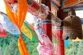 PINGAN, CHINA - Jul 9 2014: Prayer flag at Shazong Ritod Monastery(Xiazongsi). a famous Monastery in Pingan, Qinghai, China. — 图库照片