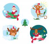 Christmas collection of the holiday cheerful characters. — 图库矢量图片