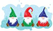 Three Christmas dwarfs — Stock Vector