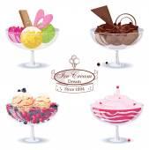 Ice cream desserts — Stock Vector