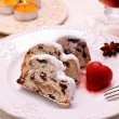 Christmas stollen cake with strawberry — Stock Photo #60483489
