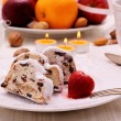 Christmas stollen cake with winter fruit — Stock Photo #60563735