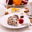 Christmas stollen cake with winter tea — Stock Photo #60563741