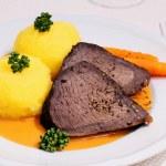 Beef roast, two dumplings in hunter sauce — Stok fotoğraf #66192261
