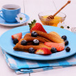 Pancakes and honey dipper on blue wooden — Stock Photo #71760623