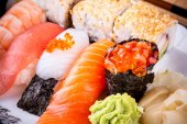 Assortment fish sushi with salmon ikura — Stock Photo