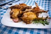Vier gebakken kwartel met jus, knoflook en rozemarijn — Stockfoto