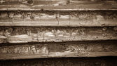 Wall from old wooden laths Semicircular — Stock Photo
