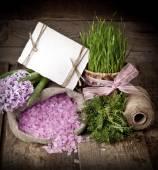 Hiacynty kwiaty z soli spa — Zdjęcie stockowe