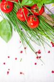Cherry Tomatoes, chives and peppers — Stock Photo