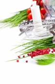 Tomatoes, chives and blender for cooking — Stock Photo