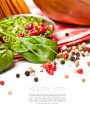 Pepper and basil leaves — Stock Photo