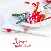 Valentines day table setting with plate — Stok fotoğraf
