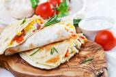 Mexican tortilla with meat stuffing — Stock Photo