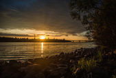 Panorama of sunset over the Dnieper. — Stock Photo