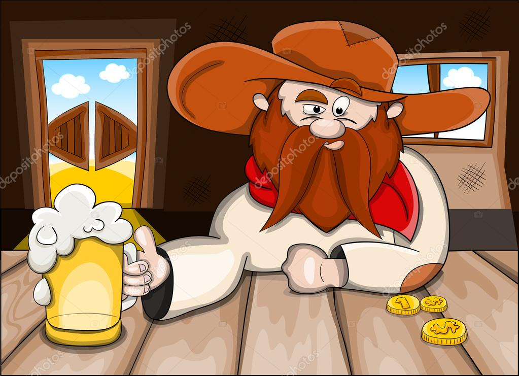 男人在酒吧里喝啤酒-矢量图