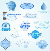 Blue Water Labels — Stock Photo
