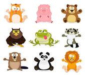 Big set of cartoon animals — Stock Vector