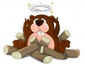 Cute cartoon beaver — Stock Vector