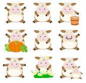 Set of Nice vector cartoon cows — Stock Vector