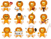 Nice cartoon lions set — Stock Vector