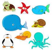 Cartoon vector ocean animals — Stock Vector