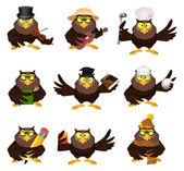 Vector cartoon set of owls — Stock Vector