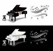 Grand Piano black and white — Stock Vector