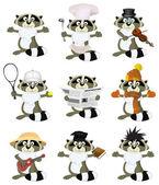 Nice set of cartoon raccoons — Stock Vector