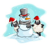 Vector cartoon snowman with sheeps — Stock Vector