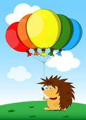 Birthday card with unusual hedgehog — Stock Vector