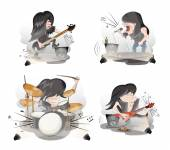 Rock musicians set — Stock Vector