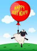 Carte d'anniversaire avec des moutons de dessin animé — Vecteur