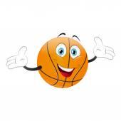 Cartoon basketball raising his hands — Stock Vector