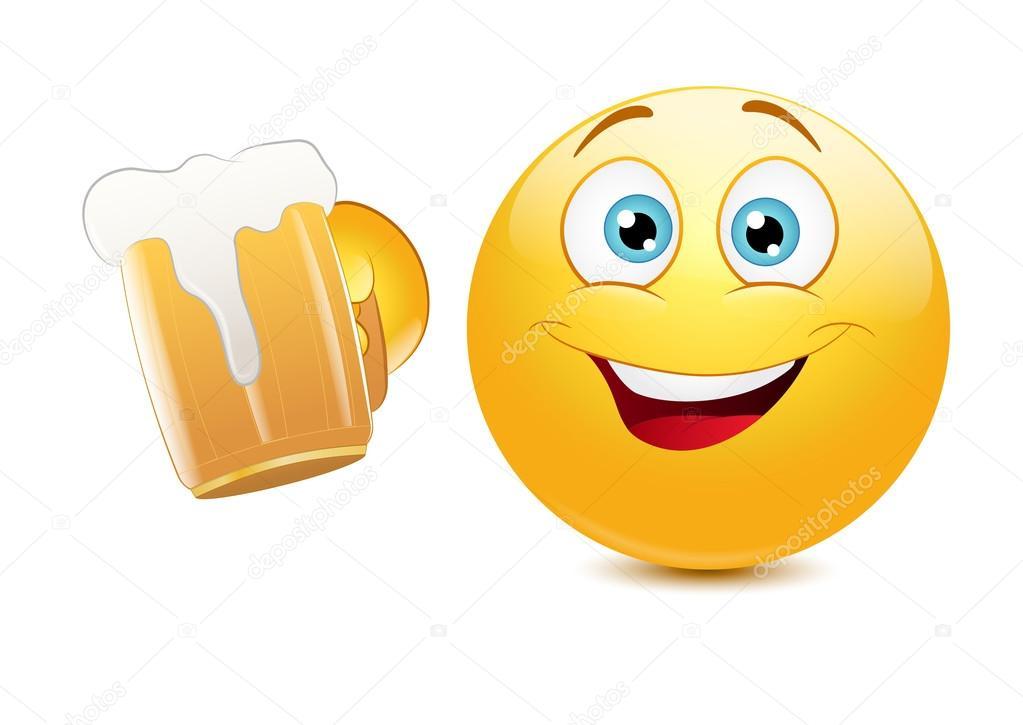 Emoticon Che Incoraggia Con Birra Vettoriale Stock 56080105