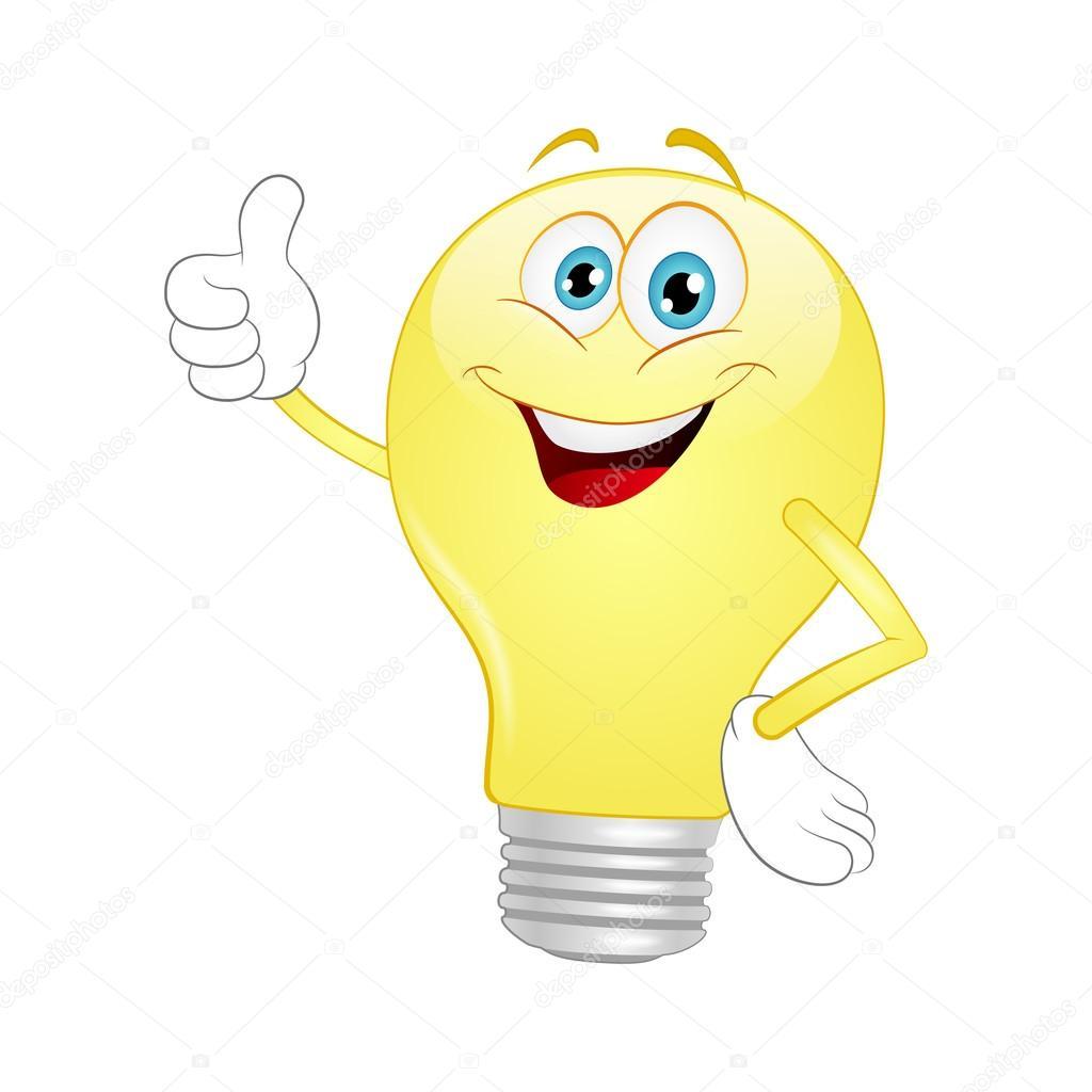 Bombilla de luz dibujos animados — vector stock