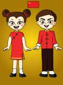 Мальчик и девочка в красном платье китайский — Cтоковый вектор