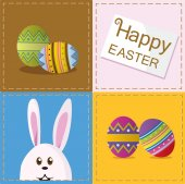 Easter eggs and bunny Easter rabbit frame — Stock Vector
